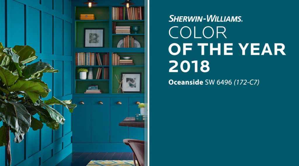 sherwin-williams oceanside is a top residential painting trend of 2018