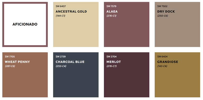 sherwin williams aficionado palette