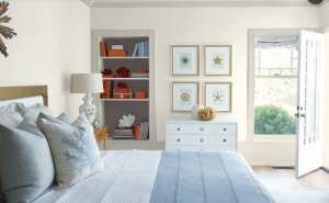 BEDROOM WALL Classic Gray OC-23 TRIM Wind's Breath OC-24 BOOKCASE BACK WALL Silhouette AF-655 CEILING White Heron OC-5