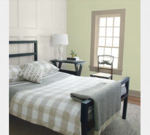 BEDROOM WALL Guilford Green HC-116 PANELING Classic Gray OC-23 TRIM Indian River 98