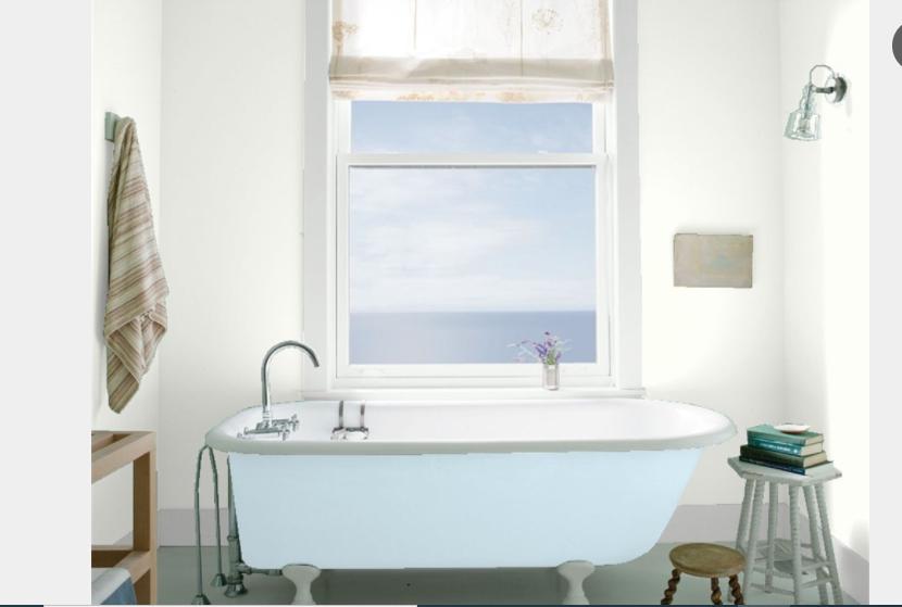 Bathroom walls painted Oxford White CC-30, TRIM Distant Gray 2124-70 TUB Breath of Fresh Air 806
