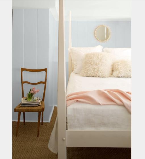 Bed room walls painted in Eternity AF-695 Benjamin Moore,TRIM Frostine AF-5, CEILING Frostine AF-5