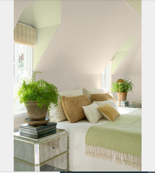 Bed room walls painted in Inukshuk CC-460 Benjamin Moore,WINDOW ALCOVES Guilford Green HC-116 TRIM Chantilly Lace OC-65