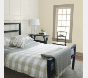 Bedroom Wall Manchester Tan HC-81 PANELING Classic Gray OC-23 TRIM Indian River 985